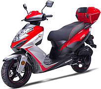 "ZNEN 150cc Scooter with Triple Halogen Headlights, LED Taillight, Dual Layer 13"" DURO Sport Tires, Dual Shock Suspension, Dual Disc Brakes, Remote start, Stainless Steel Nuts and Bolts, Rear Trunk. Free shipping to your door, free scooter helmet."