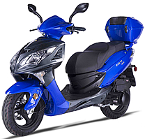 "2018 ZNEN 150cc Scooter Blue-Carbon Fiber, Dual Disc Brakes, Halogen Headlights, LED Taillight, 13"" Big Tires, Dual Suspension, Remote Start, Anti-theft Alarm, USB Port, ZN150T-7H, Stainless Steel Nuts and Bolts, Detachable Rear Trunk. Free shipping"