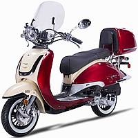 2018 ZNEN Vintage 50cc Scooter ZN50QT-G with Windshield, Remote Start, Anti-theft Alarm, USB Port, Rear Box, Backrest, White Wall Tires EPA, DOT, CARB Approved, 99.9% assembled. Free shipping to your door, free helmet and 1 year bumper to bumper warranty