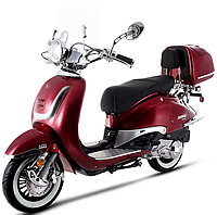 2020 Amigo 1-Tone VINTAGE 150cc Scooter BELLO 150 with Windshield, USB Port, Rear Trunk, Backrest, White Wall Tires. EPA/DOT/CARB, 99.9% assembled. Free shipping to your door, free helmet and 1 year bumper to bumper warranty