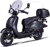 2017 ZNEN 150cc Scooter ZN150T-G BLACKOUT with Windshield, Remote start, Security alarm system, USB Port, Rear trunk, Backrest, EPA, DOT, CARB Approved, 99.9% assembled. Free shipping to your door, free helmet and 1 year bumper to bumper warranty.