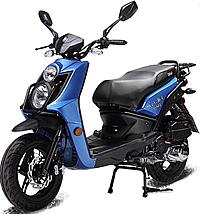 """BMS 150cc Scooter CAVALIER 150 by ZNEN, Dual Halogen Headlights, LED Taillight and Turn Signals, Dual Layer 13"""" DURO Big Sport Tires, ABS Disc Brake, Dual Suspension, Rear Trunk. Free shipping to door, free helmet, free 1 year bumper to bumper warranty."""