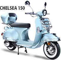 EPA/DOT/CARB approved BMS Chelsea 150 Scooter with LED Lights, White Wall Tires, Folding Front Rack (chrome), Rear Luggage Rack (chrome) and Trunk. 99.9% assembled. Free shipping to your door, free helmet and 1 year bumper to bumper warranty.
