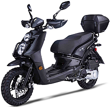 """2022 Amigo 150cc Scooter JAX 150 with Hand-guards, USB Port, Dual Halogen Headlights, LED Tailight and Turn Signals, Dual Layer 13"""" DURO Knobby Sport Tires, Dual Disc Brakes, Dual Suspension, Rear Trunk. 99.9% Assembled. Free shipping to door, free helmet"""