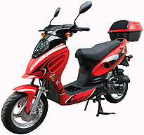 "ROKETA Sporty-50 Limited Edition 50cc Moped Scooter Fully Automatic with GY6 Long Case Engine, 12"" Big Tires MC-07JL-50. Free shipping to door, free scooter helmet, 12 months bumper to bumper warranty."