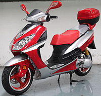 """SPORTY-150"" ROKETA 150cc Moped Scooter MC-75Y-150 Fully Automatic with Dual Shocks, 13"" big tires, rear luggage box, large underseat storage. Free shipping and residential service, free DOT approved scooter helmet, 1 year bumper to bumper warranty."