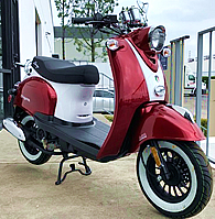 99% Assembled 2020 MAGARI-50 50cc Moped Scooter with Remote Start, Security Alarm, Rear Trunk, USB Port, White Wall Tires EPA/DOT/CARB. Free shipping to door, free helmet and 1 year bumper to bumper warranty.