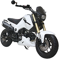 "85% Assembled ICE BEAR 125cc Street Bike Motorcycle Air Cooled Manual 4 Speed, Dual Disc Brakes, Inverted Forks, 12"" Tires (PMZ125-1). Free shipping to your door. Free helmet. 1 year warranty."