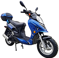 """ICE BEAR """"ALDO"""" 150cc Gas Scooter Fully Automatic with LED Lights, disc brake, Dual Shocks, Hand-guards, 12"""" Big Tires, Sporty Muffler (PMZ150-11). Free shipping to your door, 1 year bumper to bumper warranty, free DOT approved scooter helmet."""