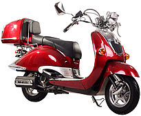 """90% Assembled ICE BEAR """"Retro"""" 150cc Scooter PMZ150-5N with Chrome details, Aluminum Floorboard, Detachable Large Rear Trunk, Black Rest. Free shipping to door, free helmet. 1 year bumper to bumper warranty."""