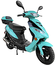 ICE BEAR ROCKET 50cc Scooter Fully Automatic with Matching Colored Aluminum Wheels & Rear Trunk PMZ50-4J. Free shipping to your door, free scooter helmet, 1 year bumper to bumper warranty.