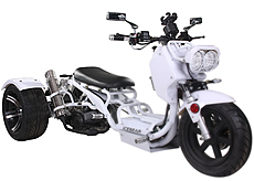 "Ice Bear MADDOG 150cc Motor Trike PST150-19N with 12""/14"" Extra Wide Big Tires, LED Lights, Chrome Wheels, Mirrors & Muffler. Free shipping to your door, free helmet, 1 year bumper to bumper warranty."