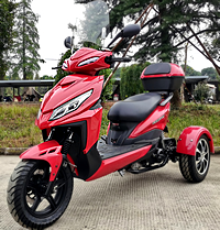 """Ice Bear Mojo Magic 50cc Motor Trike Moped Scooter with Windshield, 12"""" Tires, LED light, PST50-1. Motorcycle license is not needed. Free shipping to your door, free helmet. Street legal in all 50 States. 1 year bumper to bumper warranty."""