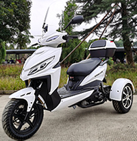 "Ice Bear Mojo Magic 50cc Motor Trike Moped Scooter with Windshield, 12"" Tires, LED light, PST50-1. Motorcycle license is not needed. Free shipping to your door, free helmet. Street legal in all 50 States. 1 year bumper to bumper warranty."
