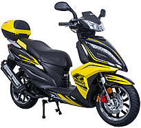 "CARB Approved TAOTAO 150cc Scooter QUANTUM Touring 150 with LED Lights, ABS Disc Brake, 13"" Big Tires, Sport Wheels. Free shipping to door, free lift-gate service, free helmet, free 1-year bumper to bumper warranty."