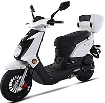 99% Assembled Q-50 50cc Moped Scooter with Remote Start, Security Alarm, Rear Trunk, USB Port, EPA/DOT/CARB. Free shipping to door, free helmet and 1 year bumper to bumper warranty.