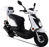 99% Assembled Q-50 50cc Moped Scooter with Remote Start, Security Alarm, ABS disc brake, Rear Trunk, USB Port, EPA/DOT/CARB. Free shipping to door, free helmet and 1 year bumper to bumper warranty.