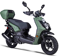 "2021 Amigo 50cc Scooter JAX-50 with Hand-guards, USB Port, Dual Halogen Headlights, LED Tailight and Turn Signals, Dual Layer 13"" DURO Knobby Sport Tires, Dual Disc Brakes, Dual Suspension, Rear Trunk. 99.9% Assembled. Free shipping to door, free helmet"