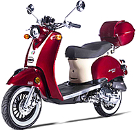 99% Assembled MAGARI-50 50cc Moped Scooter with Remote Start, Security Alarm, Rear Trunk, USB Port, White Wall Tires EPA/DOT/CARB. Free shipping to door, free helmet and 1 year bumper to bumper warranty.