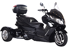 Ice Bear 300cc Full Size Motor Trike TORNADO-300 (PST300C) EFI Electronic Fuel Injection Engine, Automatic with Reverse, Rear Differential, Windshield, Rear Trunk, Disc Brakes. Free shipping to your door, free helmet. 1 year bumper to bumper warranty.