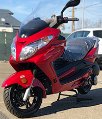 Amigo 150cc Executive Road King Scooter with Big windshield, Remote start, Anti-theft Alarm, Radio, MP3, LED lights, dual USB ports, speakers, disc brakes. EPA, DOT Approved, 99.9% assembled. Free shipping to your door, free DOT approved helmet.