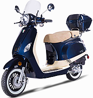 ZNEN VPA 50cc Scooter with Windshield, Remote Start, Anti-theft Alarm, Rear trunk, USB Port, White Wall Tires EPA/DOT/CARB, 99.9% assembled. Free shipping to your door, free helmet and 1 year bumper to bumper warranty.