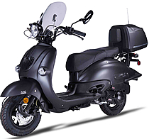 "2020 AMIGO ""BELLO-150 BLACKOUT"" Scooter with Windshield, LED light, USB Port, Backrest,   EPA, DOT, CARB Approved, street legal in all 50 States. 99.9% assembled. Free shipping to your door, free helmet and 1 year bumper to bumper warranty."