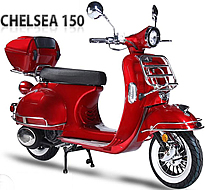 EPA/DOT/CARB approved 2019 BMS Chelsea 150 Scooter with LED Lights, White Wall Tires, Folding Front Rack (chrome), Rear Luggage Rack (chrome) and Trunk. 99.9% assembled. Free shipping to your door, free helmet and 1 year bumper to bumper warranty.