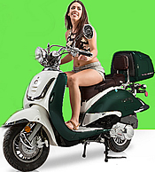 ZNEN Vintage 150cc Scooter ZN150T-G with Windshield, Remote Start, Anti-theft Alarm, USB Port, Rear Box, Backrest, White Wall Tires EPA, DOT, CARB Approved, 99.9% assembled. Free shipping to your door, free helmet and 1 year bumper to bumper warranty